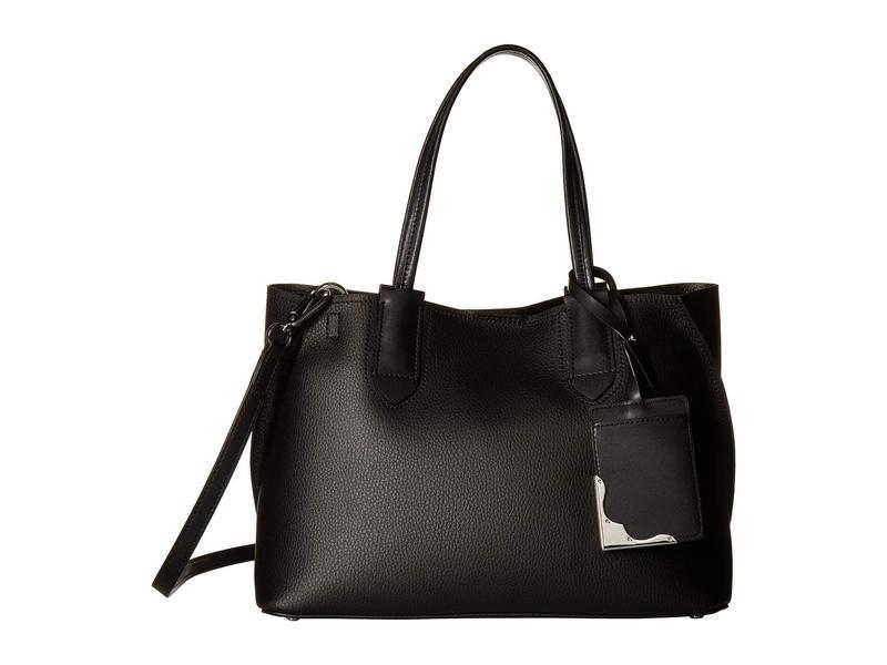 カルバンクライン レディース ハンドバッグ バッグ Jacky Micro Pebble Leather Tote Black/Silver