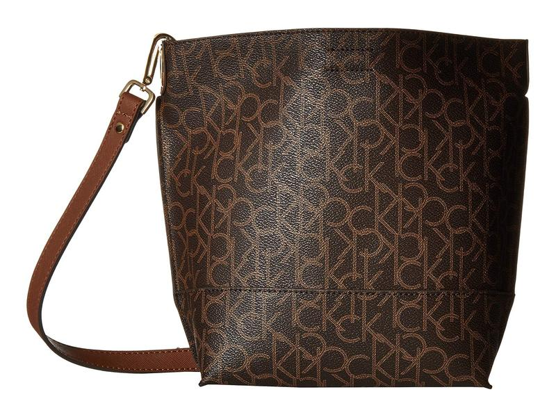 カルバンクライン レディース ハンドバッグ バッグ Sonoma Monogram Bucket Brown/Khaki