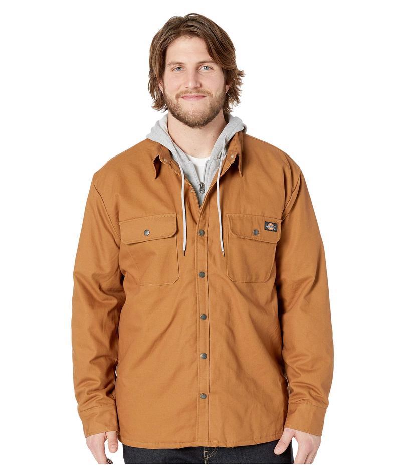 ディッキーズ メンズ コート アウター Big & Tall Relaxed Fit Icon Hooded Duck Quilted Shirt Jacket Brown Duck
