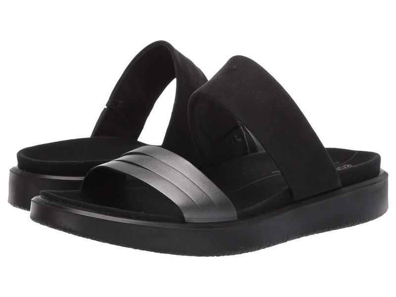 エコー レディース サンダル シューズ Flowt Slide Sandal Black/Dark Shadow Metallic/Black Cow Leather/Cow Nubuck