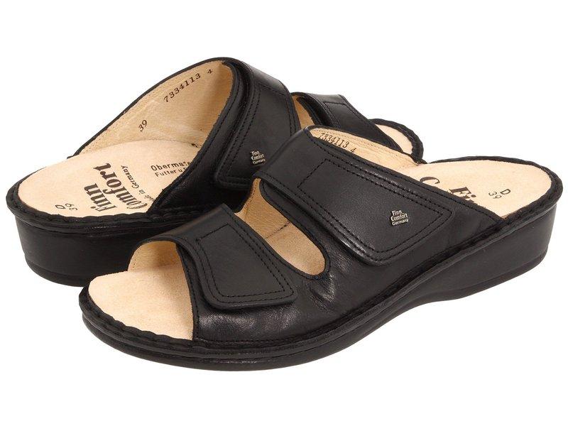 フィンコンフォート レディース サンダル シューズ Jamaica - 82519 Black Nappa Soft Footbed