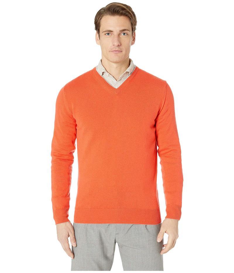 イレブンティ メンズ ニット・セーター アウター Cashmere Tipped V-Neck Sweater Orange