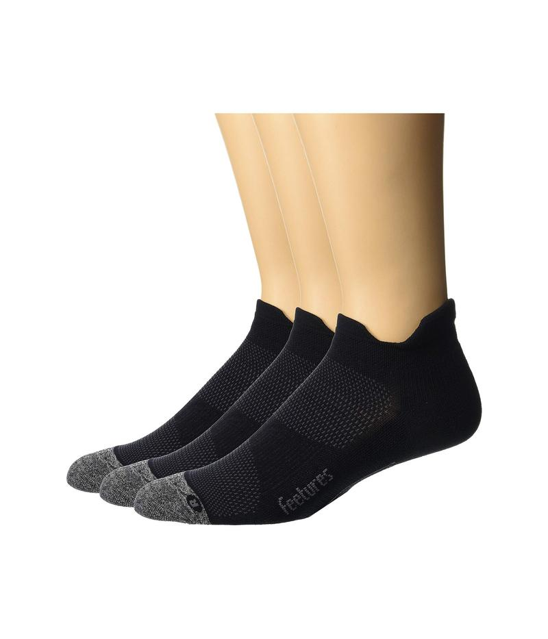 フィーチャー メンズ 靴下 アンダーウェア Elite Light Cushion No Show Tab 3-Pair Pack Black