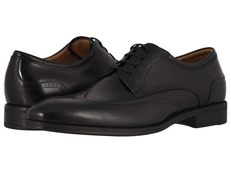 フローシャイム メンズ オックスフォード シューズ Amelio Wing Tip Oxford Black Smooth