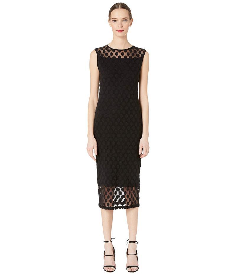 フィッジ レディース ワンピース トップス Polka Dot Tulle Print Sleeveless Dress Nero