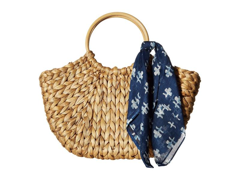 ハットアタック レディース ハンドバッグ バッグ Bangle Handle Bag with Bandana Scarf Trim Natural/Navy Block Print