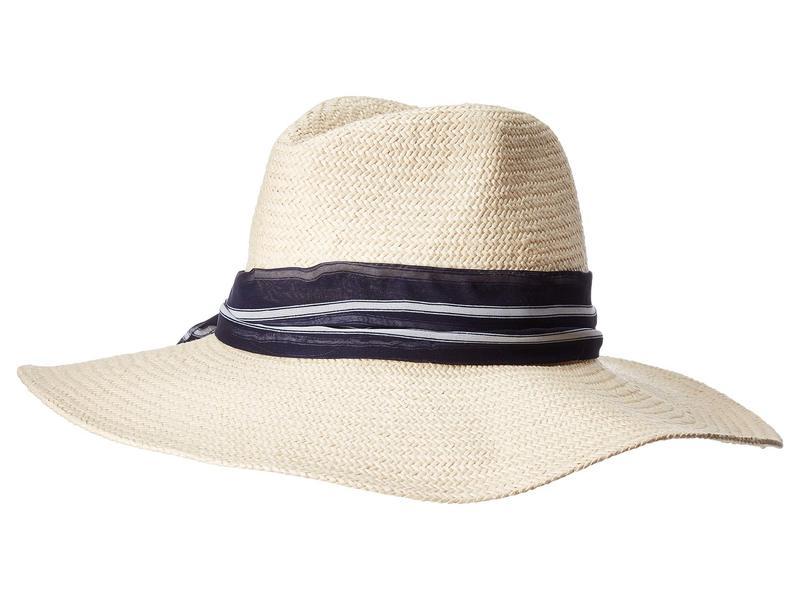ハットアタック レディース 帽子 アクセサリー Harbor Sun Hat with Scarf Tie Natural/Navy Stripe