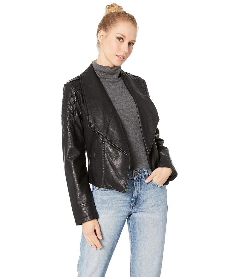 ジャック バイ ビービーダコタ レディース コート アウター Take The 101 Drape Front Rippled Vegan Leather Jacket Black