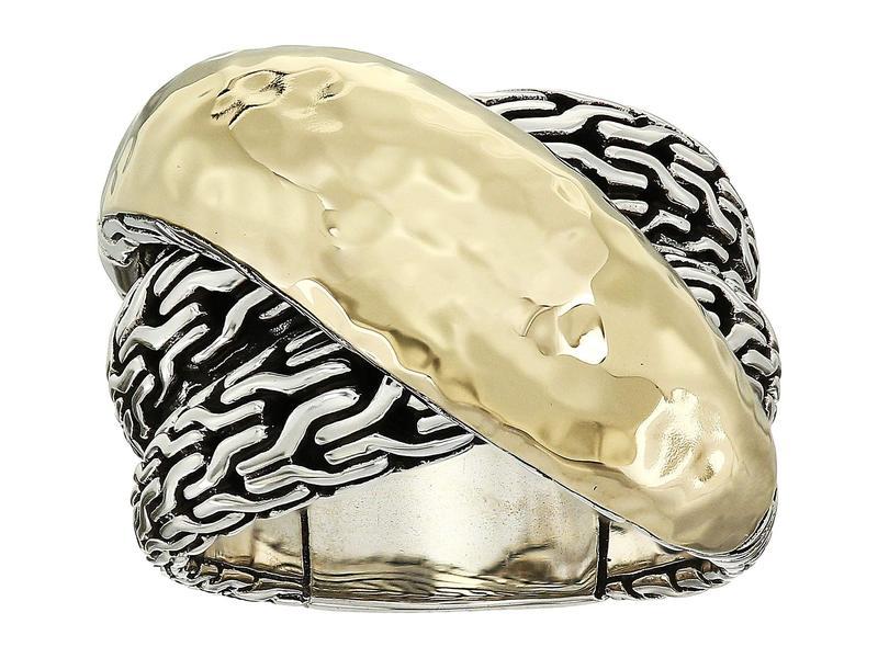 ジョン・ハーディー レディース リング アクセサリー Classic Chain Hammered Crossover Ring 18K Gold/Silver
