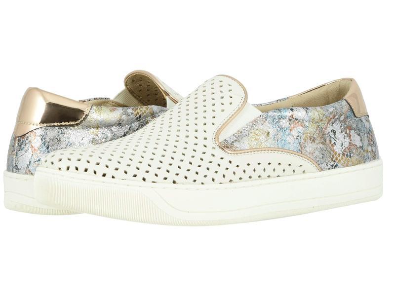ジョンストンアンドマーフィー レディース スニーカー シューズ Elaine Perfed White Italian Nappa/Pewter Mosaic Leather