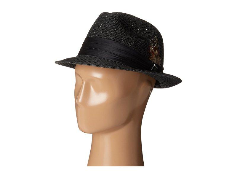 ステイシーアダムス メンズ 帽子 アクセサリー Polybraid Pinch Front Fedora with Silk Band Black