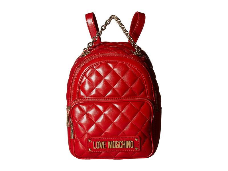ラブ モスキーノ レディース バックパック・リュックサック バッグ Shiny Quilted Backpack Red