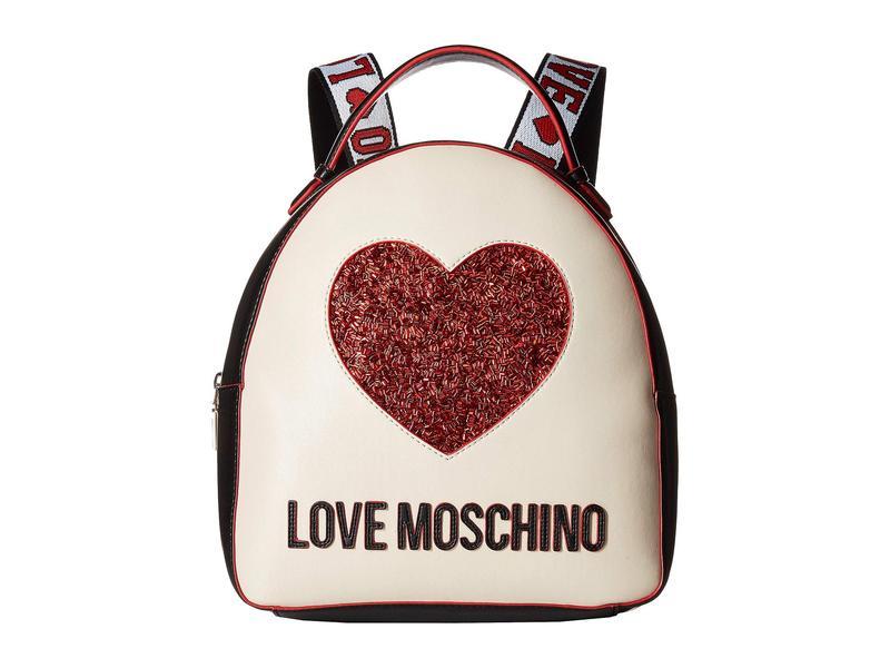 ラブ モスキーノ レディース バックパック・リュックサック バッグ Heart Design Backpack Black/Ivory