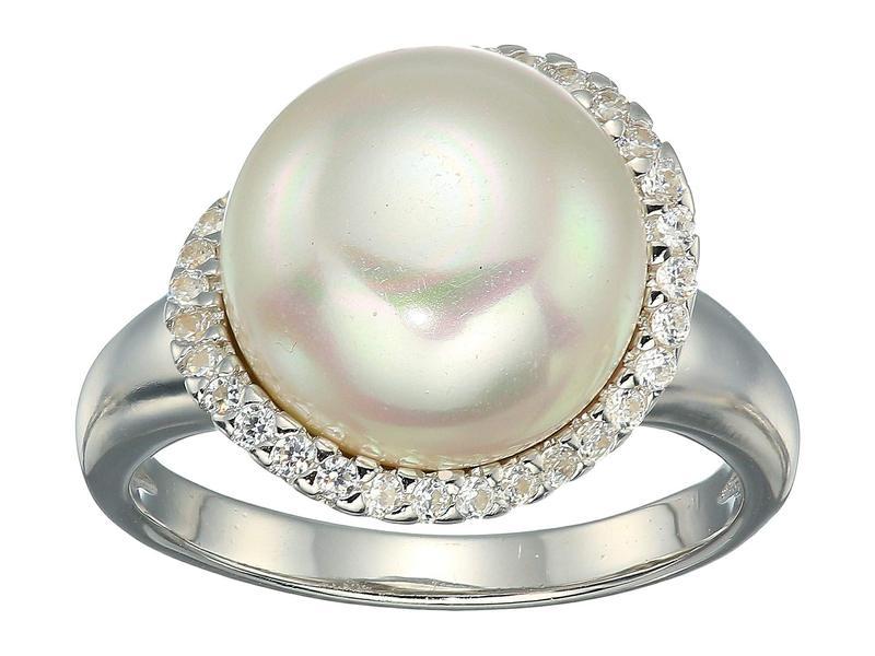 マジョリカ レディース リング アクセサリー Rosa 12mm White Flat Pearl w/ CZ Ring On Sterling Silver White