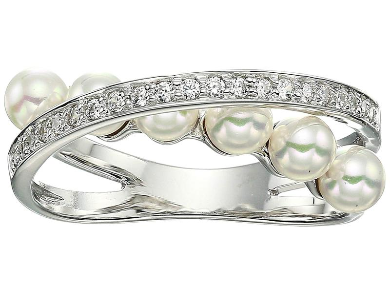 マジョリカ レディース リング アクセサリー Eternity Rings 4 mm White Pearls CZ Sterling Silver Ring White