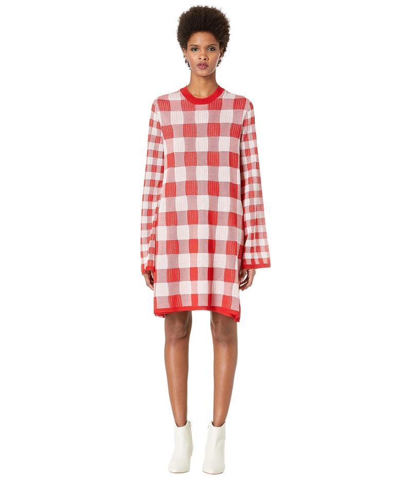 アレキサンダー・マックイーン レディース ワンピース トップス Plaid Sweatshirt Dress Optic White/Red