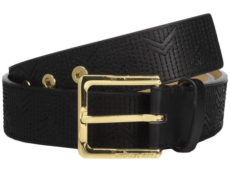 マイケルコース レディース ベルト アクセサリー 38 mm (1.5???) Deco M Quilt Belt Black/Light Polished Gold