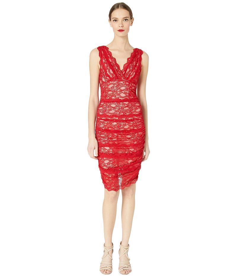 ニコルミラー レディース ワンピース トップス Evelin Stretch Lace Ruched Dress Red