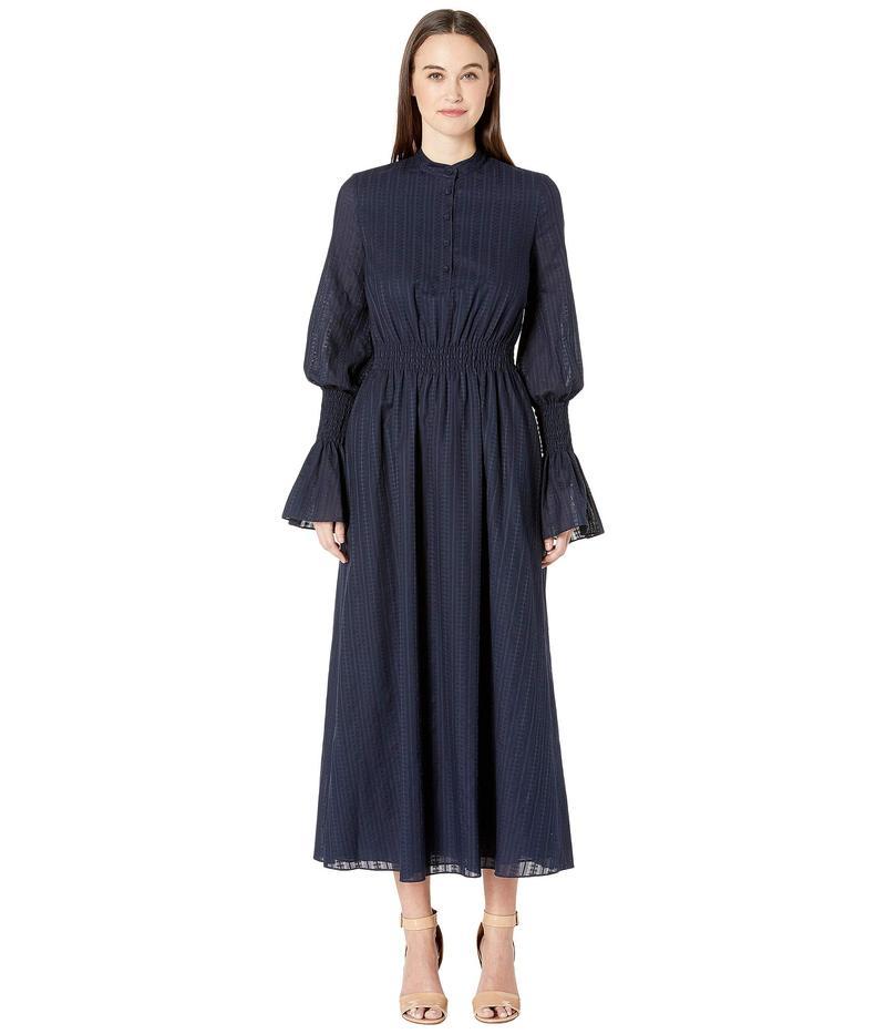 アダム リピズ レディース ワンピース トップス Swiss Voile Long Sleeve Dress w/ Smocked Waist and Sleeves Navy