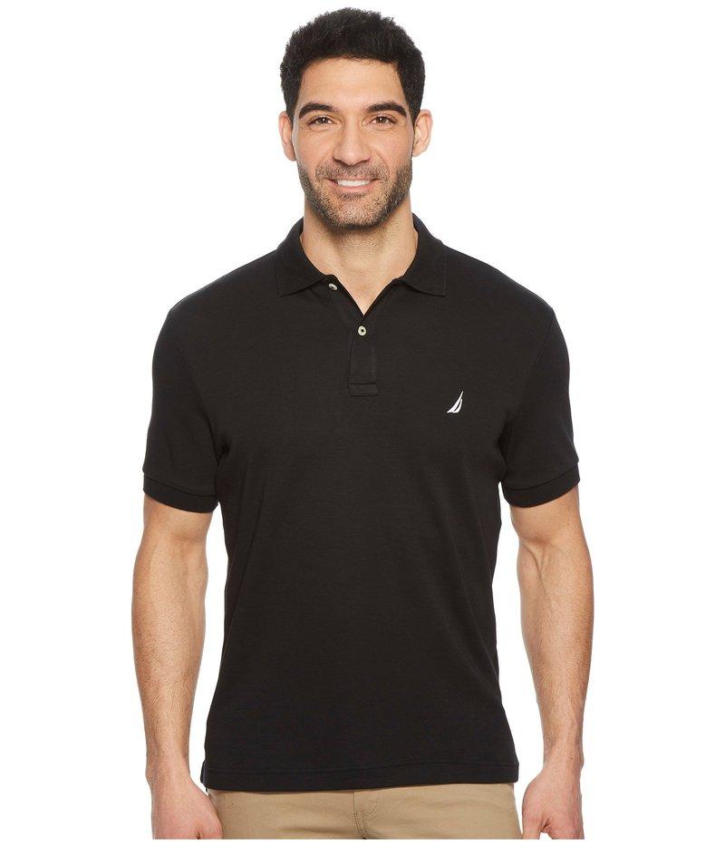 ナウティカ メンズ シャツ トップス Short Sleeve Solid Interlock Polo True Black