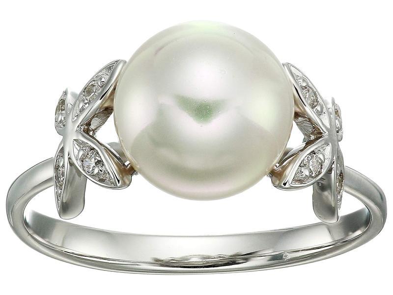 マジョリカ レディース リング アクセサリー Eternity Rings 4 mm White Pearls Ring w/ Butterfly CZ Sterling Silver Ring White