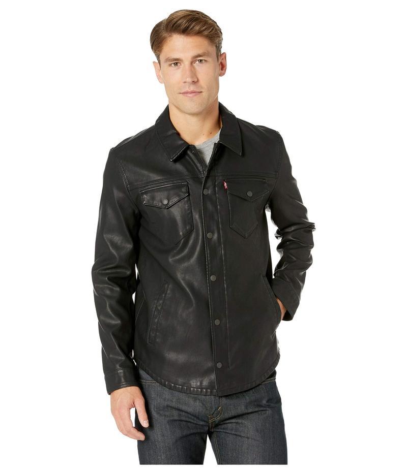 リーバイス メンズ コート アウター Faux Leather Shirt Jacket Black