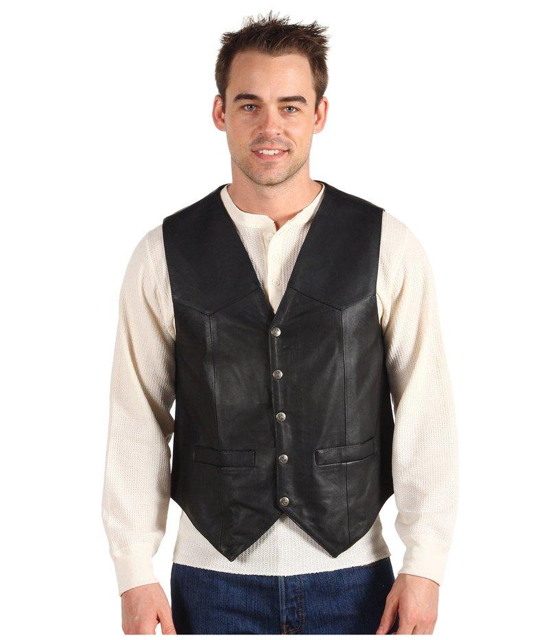 スカーリー メンズ コート アウター Leather Vest Black