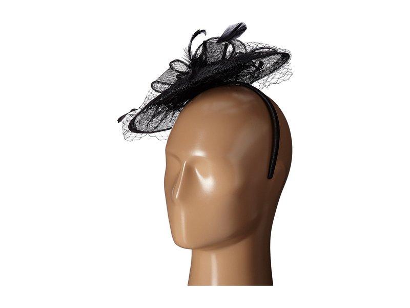 サンディエゴハット レディース ヘアアクセサリー アクセサリー DRS1005 Fasinator with Veil Curled Bow Featers For Derby or Dressy Attire Black