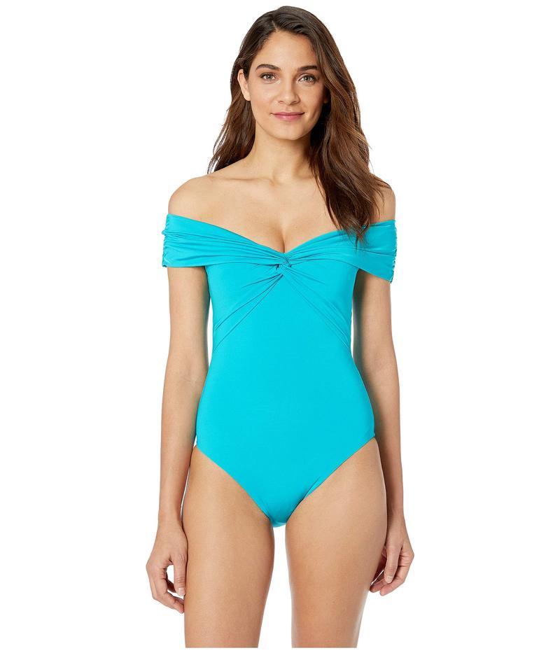 トリーナターク レディース 上下セット 水着 Getaway Solids Twist Bandeau One-Piece Turquoise