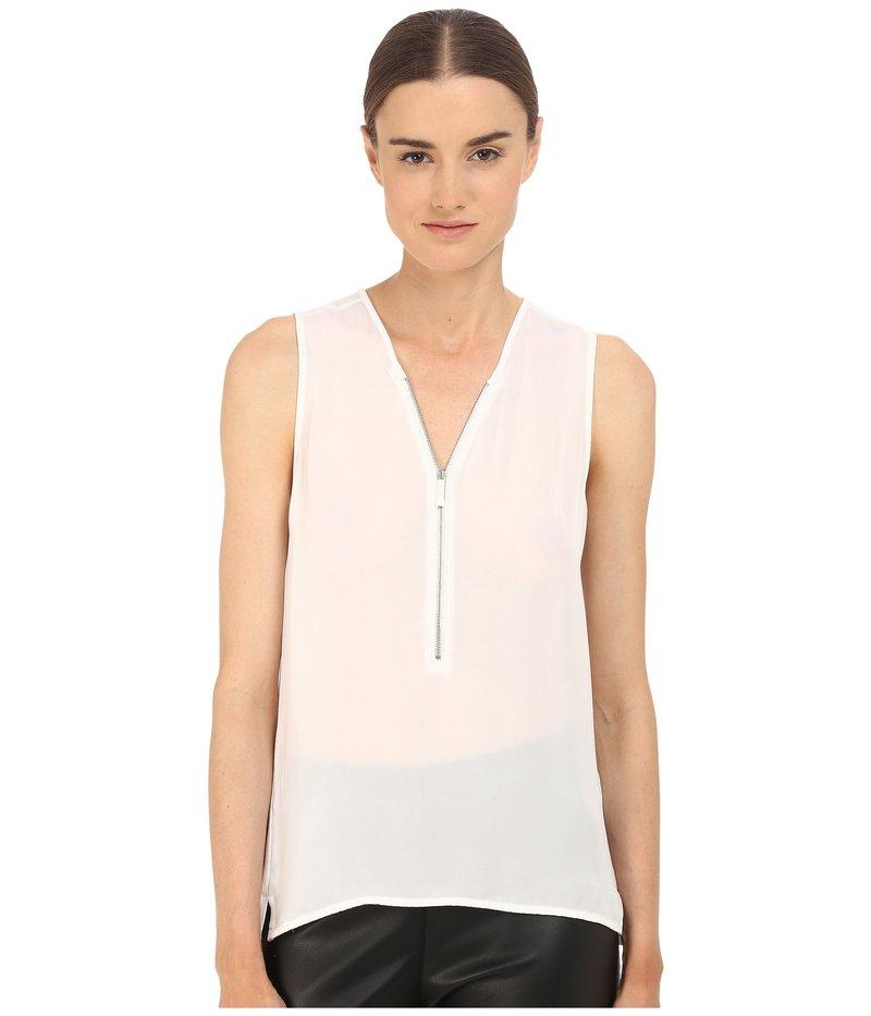 ザ・クープルス レディース シャツ トップス Tank Top in Silk and Jersey with a Zip Neckline White