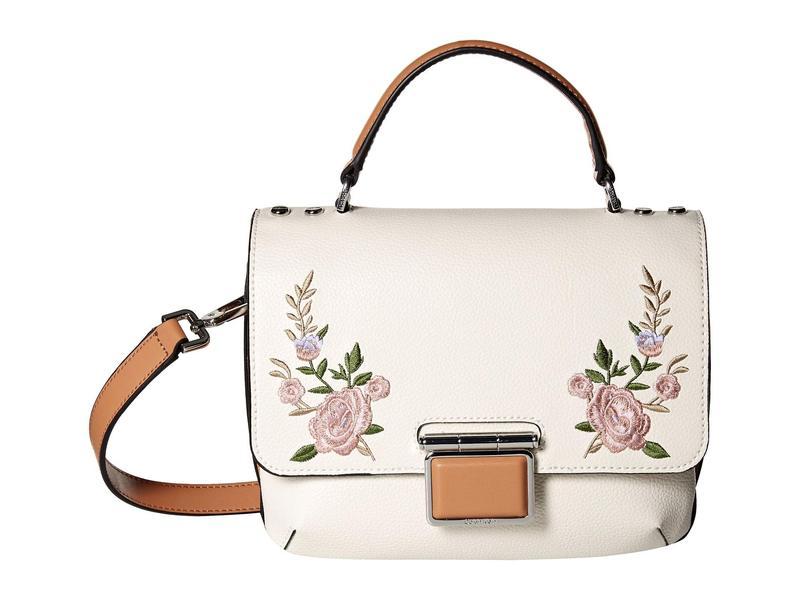 カルバンクライン レディース ハンドバッグ バッグ Dani Hermine Leather Flower Embroidered Crossbody Desert Flower/White