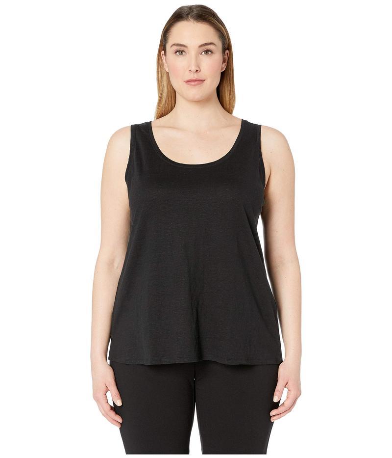 エイリーンフィッシャー レディース シャツ トップス Plus Size Organic Linen Jersey U-Neck Long Tank Top Black