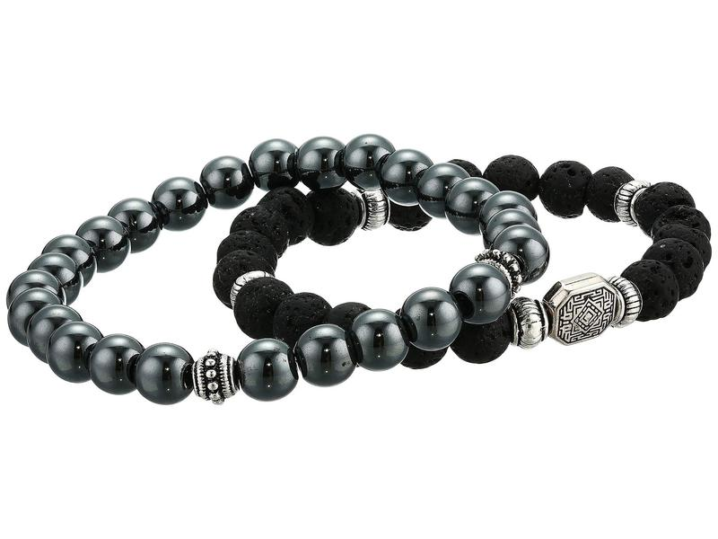 ディーバークレイ メンズ ブレスレット・バングル・アンクレット アクセサリー Stability Genuine Gemstone Beaded Bracelet Set Of 2 Black