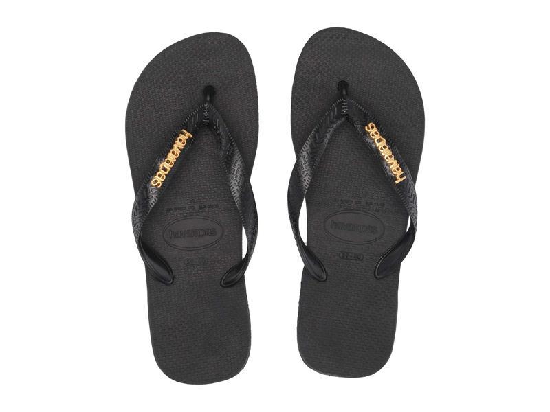 ハワイアナス レディース サンダル シューズ Top Logo Metallic Flip Flops Black