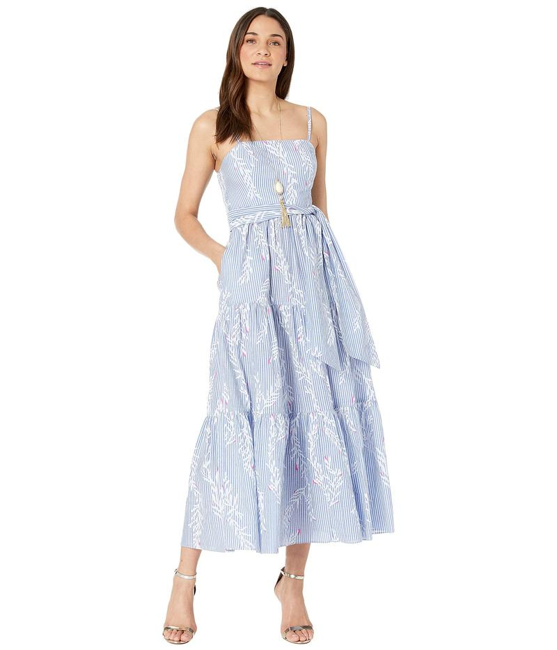 Coral リリーピュリッツァー Maxi Blue トップス Aviana Pigment Coastal Print レディース ワンピース Dress Open