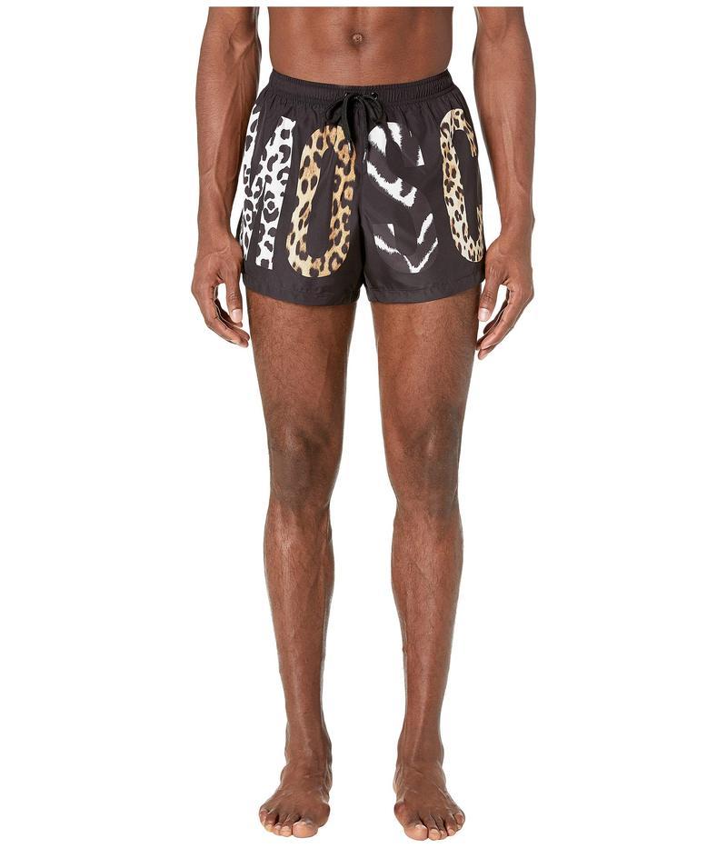 モスキーノ メンズ ハーフパンツ・ショーツ 水着 Patchwork Animalier Swim Shorts Black Multi