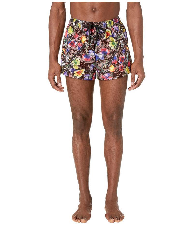 モスキーノ メンズ ハーフパンツ・ショーツ 水着 Flowers and Harness Swim Shorts Brown Multi