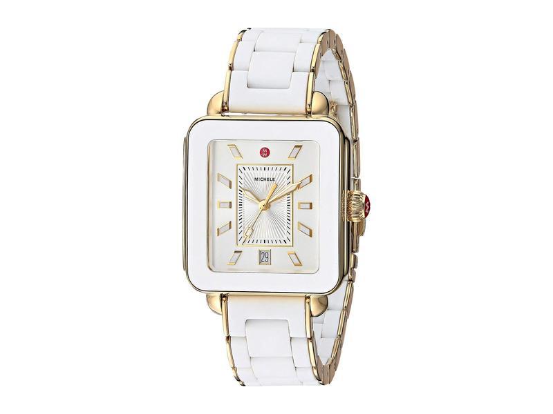 ミッシェル レディース 腕時計 アクセサリー Deco Sport - MWW06K000016 White Wrapped Silicone/Gold Tone Case/Silver/White Sunray Dial