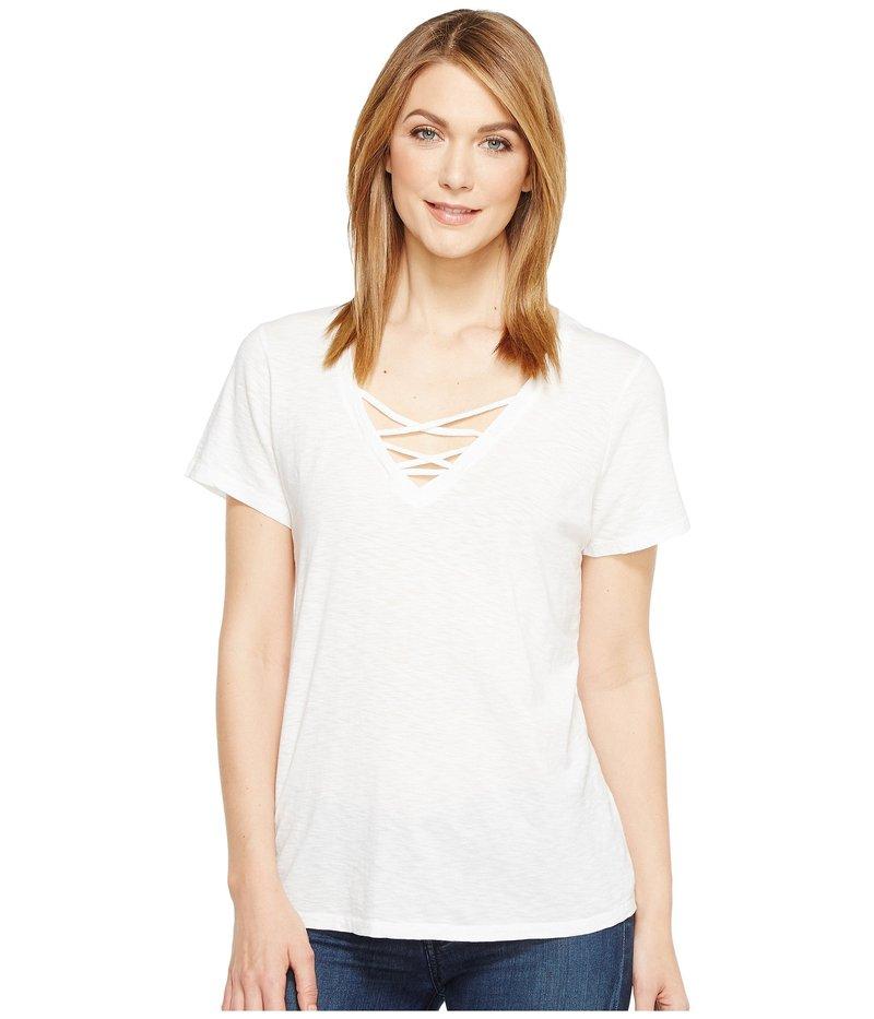 マイケルスターズ レディース シャツ Lace-Up Short トップス Supima Cotton Slub Short Sleeve White Lace-Up Tee White, スザカシ:3a18aaf2 --- sayselfiee.com