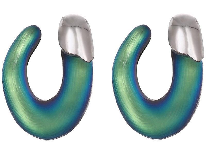 アレクシス ビッター レディース ピアス・イヤリング アクセサリー Liquid Rhodium Capped Front Facing Hoop Earrings Black Beetle