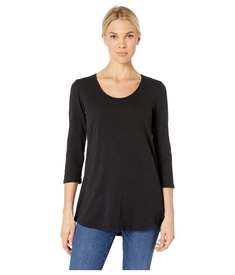 モッドドック Jersey レディース Seams シャツ トップス Sleeve 3/4 Sleeve Tee with Diagonal Seams and Pockets in Slub Jersey Black, しずなーびShop:c8bb67c4 --- sayselfiee.com