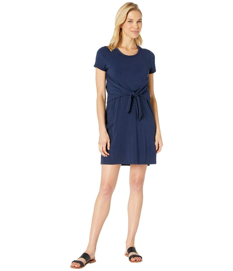 モッドドック レディース ワンピース トップス Short Sleeve T-Shirt Dress with Tie Front in Cotton Modal Spandex Jersey True Navy