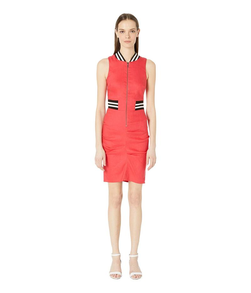 ニコルミラー レディース ワンピース トップス Stretch Linen Zip Dress Dark Coral