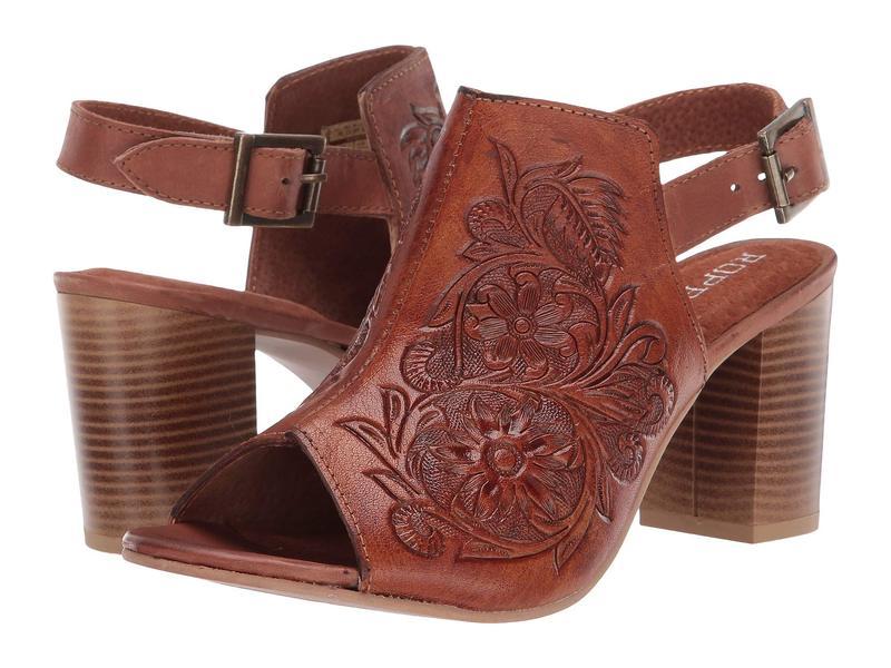 ローパー レディース ヒール シューズ Mika Tan Floral Toolded Leather