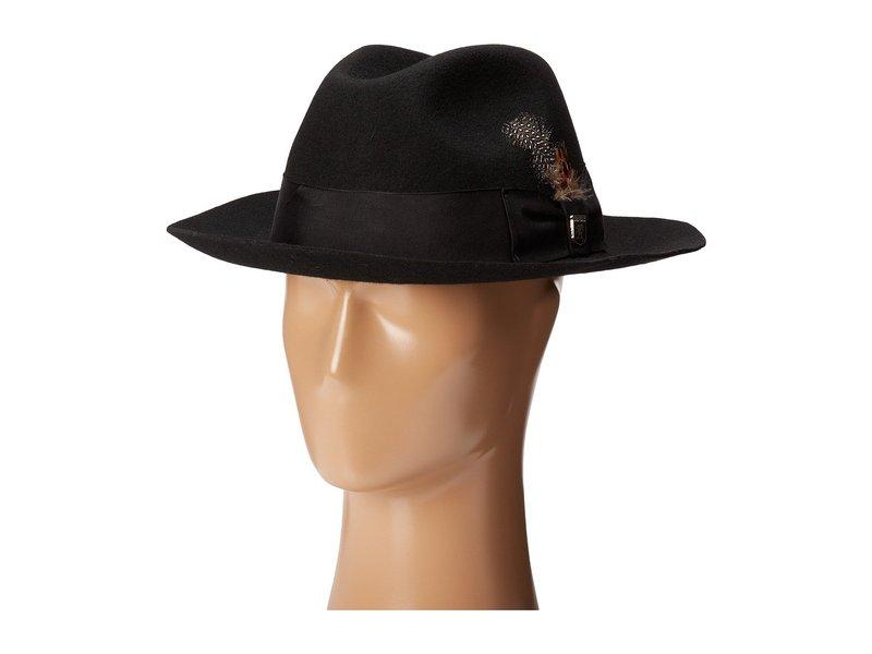 ステイシーアダムス メンズ 帽子 アクセサリー Wool Felt Fedora w/ Grosgrain Band Black