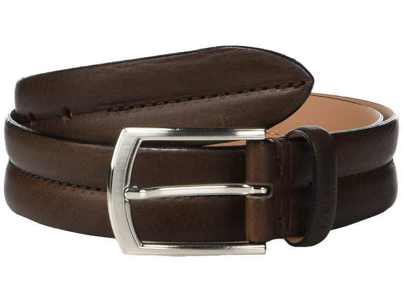 テッドベーカー メンズ ベルト アクセサリー Benn Stitched Leather Belt Chocolate