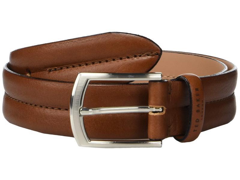 テッドベーカー メンズ ベルト アクセサリー Benn Stitched Leather Belt Tan