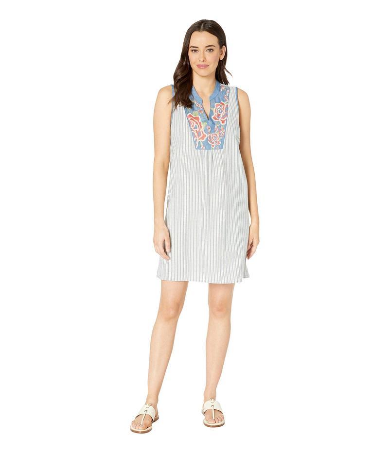 トリバル レディース ワンピース トップス Stripe Sleeveless Dress with Embroidery Chambray