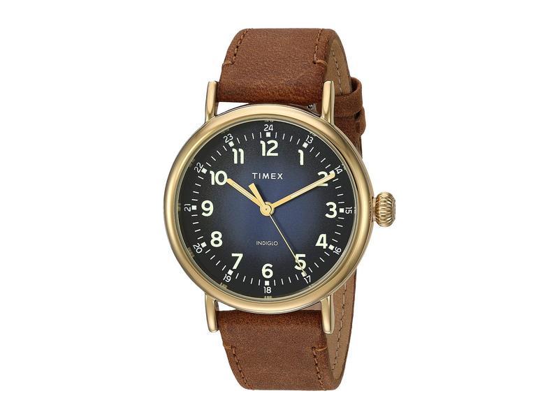 タイメックス メンズ 腕時計 アクセサリー 40 mm Standard Leather Strap Blue/Tan