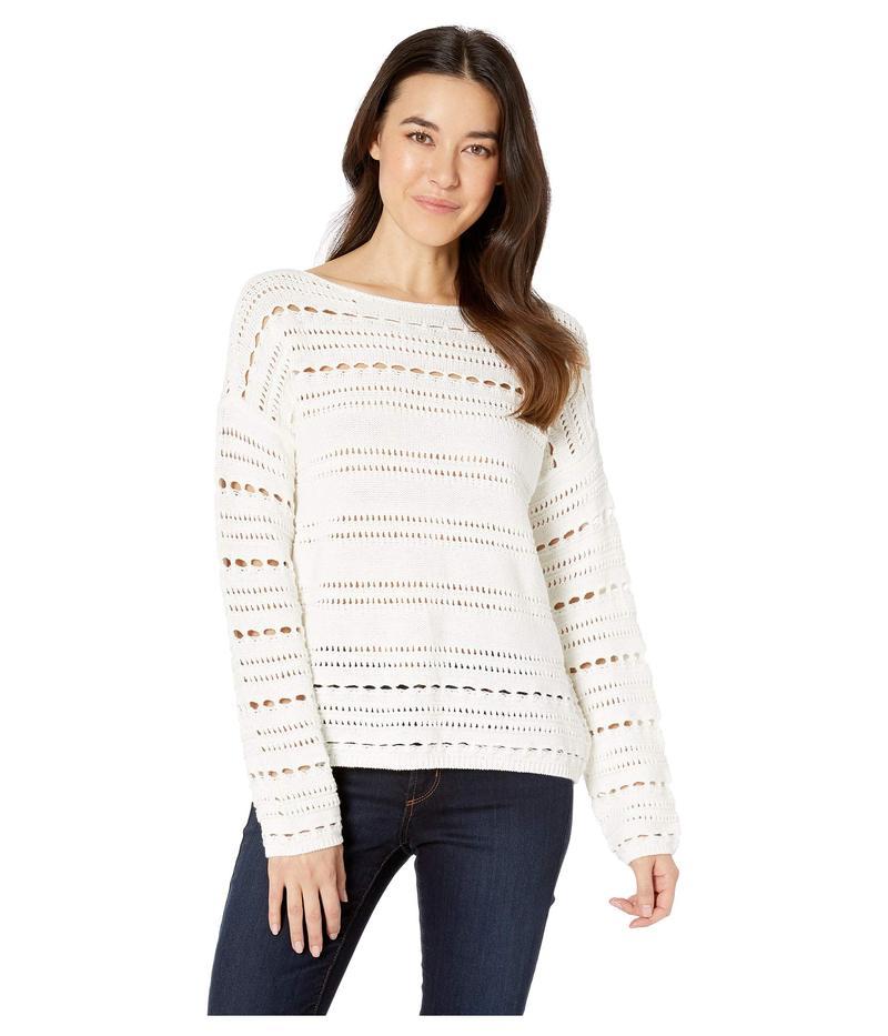 トゥーバイビンスカムート レディース ニット・セーター アウター Long Sleeve Open Stitch Cotton Sweater Pearl Ivory